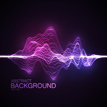 sonido: 3D iluminado ola digital abstracto de partículas brillantes y alambre. Ilustración vectorial Futurista. Elemento de HUD. Concepto de la tecnología. Resumen de antecedentes Vectores