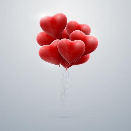 romance: 빨간 풍선 마음의 무리를 비행의 벡터 휴일 그림. 해피 발렌타인