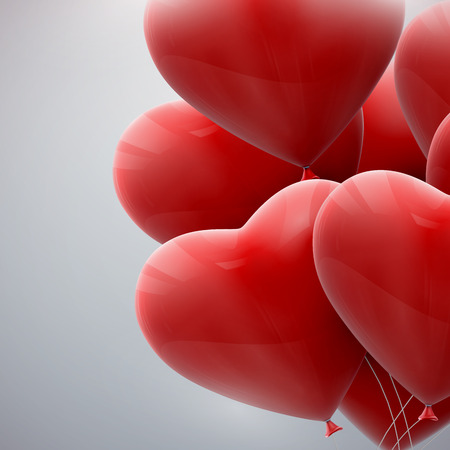 vector holiday illustration of flying bunch of red balloon hearts, Ideas