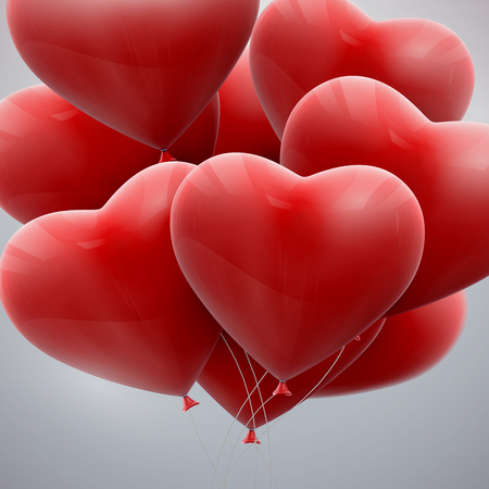 bunch of hearts: vector holiday illustration of flying bunch of red balloon hearts. Happy Valentines Day Illustration