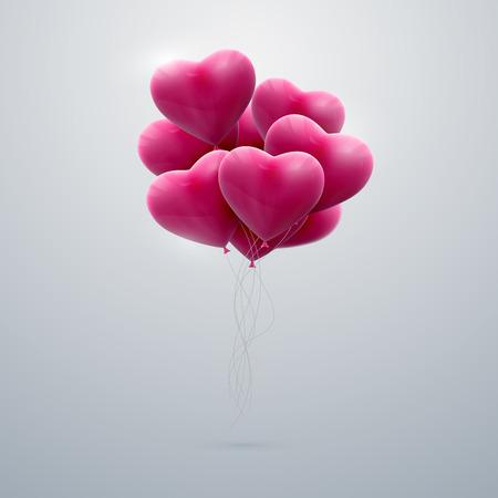 globo: de vacaciones vector de la ilustraci�n del manojo de corazones del globo rosado del vuelo. Feliz d�a de San Valent�n
