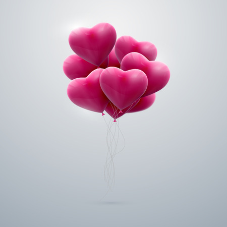 balloons: vector holiday illustration of flying bunch of pink balloon hearts. Happy Valentines Day