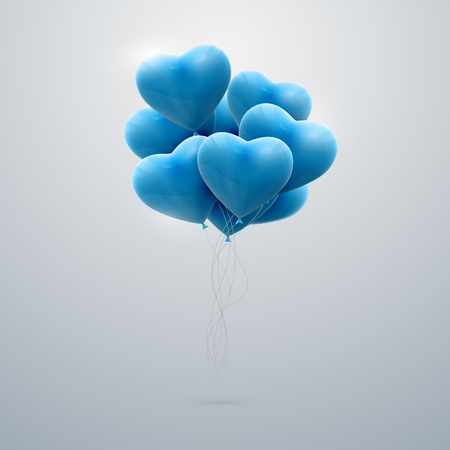 vector holiday illustration of flying bunch of blue balloon hearts. Happy Valentines Day Vetores