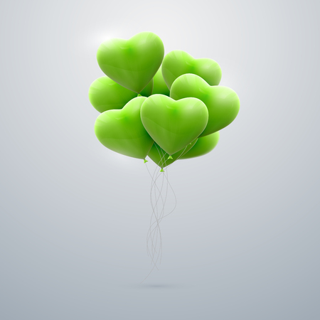 bunch of hearts: vector holiday illustration of flying bunch of green balloon hearts. Happy Valentines Day Illustration