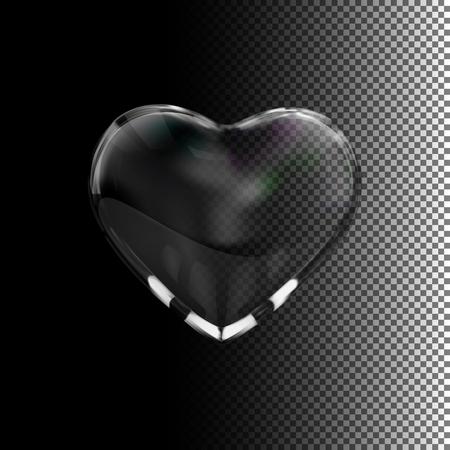 holiday symbol: Glass transparent heart. Vector holiday illustration. Valentines Day symbol Illustration