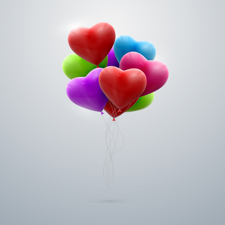 vector holiday illustration of flying bunch of balloon hearts. Happy Valentines Day