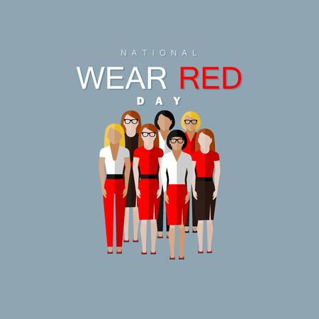 Día Nacional de Vestir de color rojo. Ilustración vectorial plano de la comunidad de las mujeres con un vestido rojo Vectores