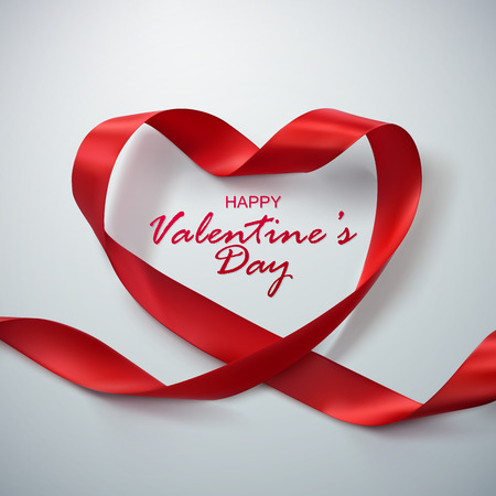 Happy Valentines Day. Red Ribbon Heart. Vector Illustration Of Looping Ribbon. Иллюстрация