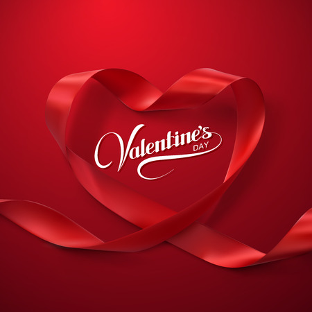 ロマンス: 幸せなバレンタインデー。赤いリボンの心。リボンをループのベクトル イラスト。