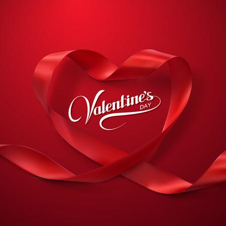 로맨스: 행복한 발렌타인 데이. 빨간 리본 하트. 루핑 리본의 벡터 일러스트 레이 션. 일러스트