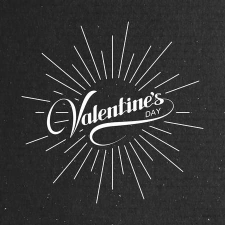 day light: Valentines Day. Vector Holiday Illustration. Lettering Label With Light Rays