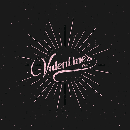 light rays: Valentines Day. Vector Holiday Illustration. Lettering Label With Light Rays