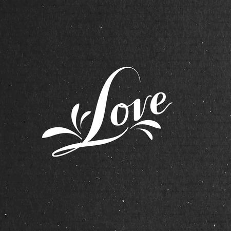 cardboard texture: vector typographic illustration of handwritten Love retro label. lettering composition on the black cardboard texture Illustration