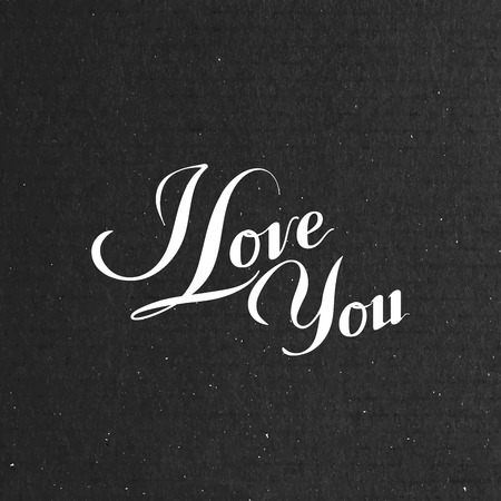 love confession: vector typographic illustration of handwritten I love you retro label. lettering composition on the black cardboard texture
