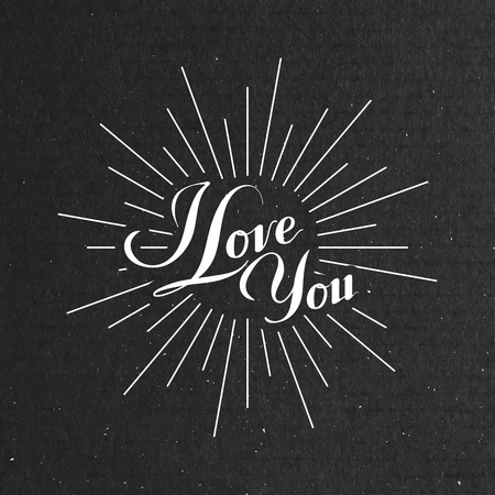 i label: vector typographic illustration of handwritten I love you retro label. lettering composition on the black cardboard texture