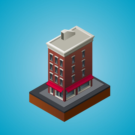 front of house: Isometric 3d residential building. Vector illustration