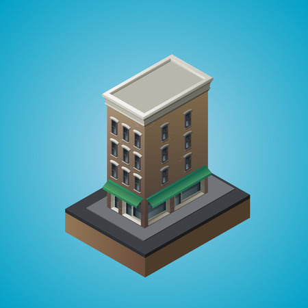 awnings: Isometric 3d residential building. Vector illustration
