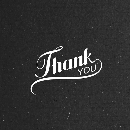 salutations: Vector typographic illustration of handwritten Thank You retro label. lettering composition