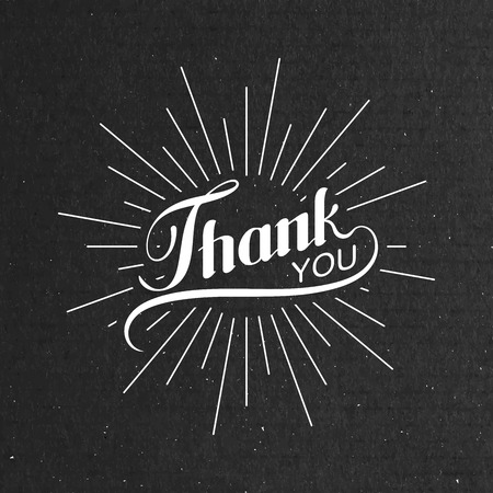 Vector typographic illustration of handwritten Thank You retro label. lettering composition