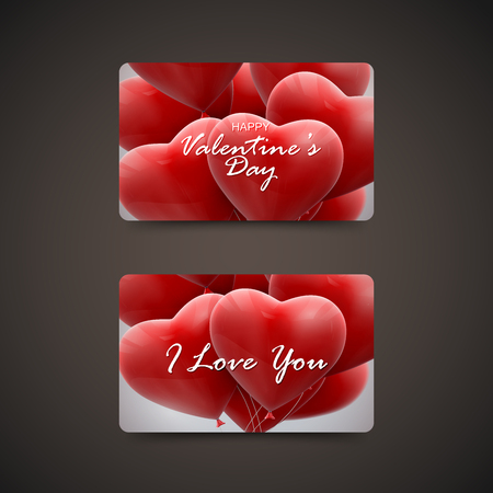 bunch of hearts: Gift cards with flying bunch of balloon hearts. Happy Valentines Day. Vector holiday illustration