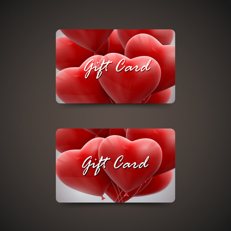gift card: Gift cards with flying bunch of balloon hearts. Vector holiday illustration