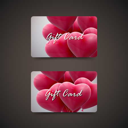 bunch of hearts: Gift cards with flying bunch of balloon hearts. Vector holiday illustration