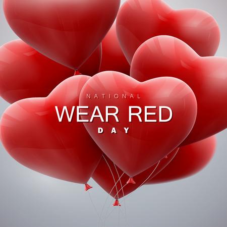 rojo: Día Nacional de Vestir de color rojo. De vacaciones vector de la ilustración del manojo de corazones del globo volando.