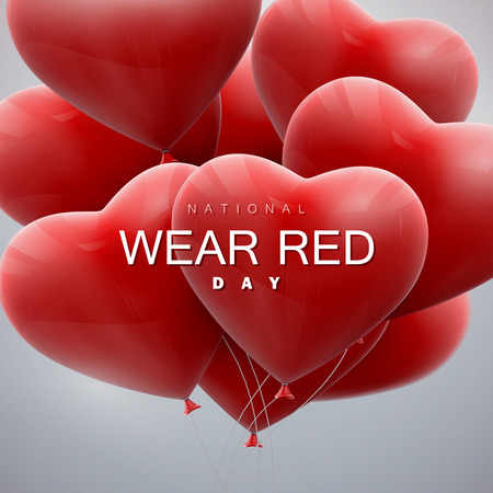 red: National wear red day. Vector holiday illustration of flying bunch of balloon hearts.