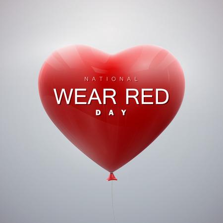 national: Día Nacional de Vestir de color rojo. De vacaciones vector de la ilustración del manojo de corazones del globo volando.