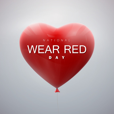 National wear red day. Vector holiday illustration of flying bunch of balloon hearts.