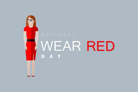 national: Día Nacional de Vestir de color rojo. Ilustración vectorial plano de la mujer con un vestido rojo Vectores