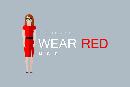 national: National wear red day. Vector flat illustration of woman wearing red dress