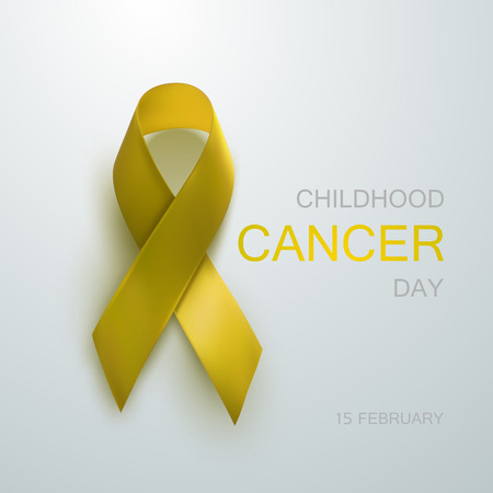 childhood cancer: Childhood Cancer Awareness Yellow Ribbon. Childhood Cancer Day concept. Vector Illustration