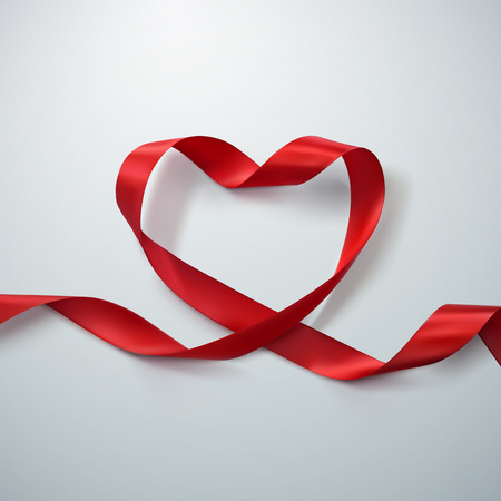 Red Ribbon Heart. Vector Illustration Of Looping Ribbon. Valentines Day Or Medical Concept