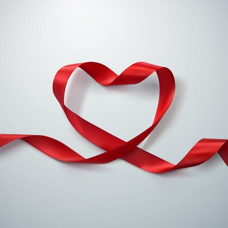 Red Band-Herz. Vektor-Illustration Der Looping Band. Valentinstag oder medizinische Konzept Standard-Bild - 52042787