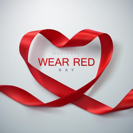 nacional: Día Nacional de Vestir de color rojo. Ilustración del vector del corazón de la cinta. Vectores