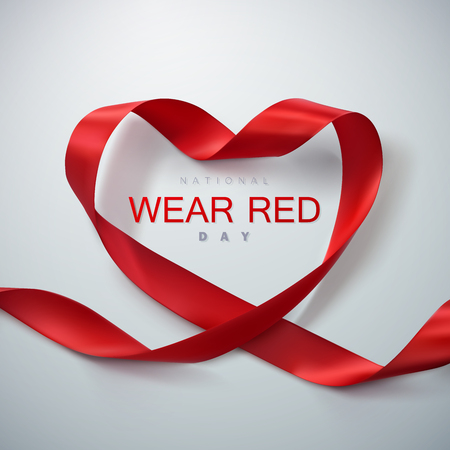 National wear red day. Vector illustration of ribbon heart. Vettoriali