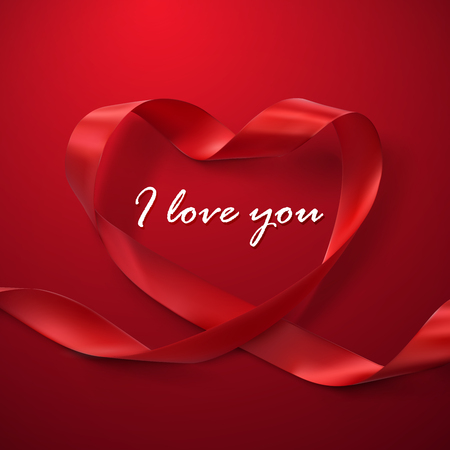 love illustration: I Love You. Happy Valentines Day. Red Ribbon Heart. Vector Illustration Of Looping Ribbon.