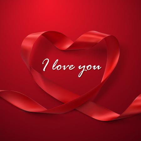 caes: Te quiero. Feliz d�a de San Valent�n. Coraz�n rojo de la cinta. Vector Ilustraci�n de la cinta de bucle. Vectores