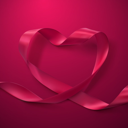 looping: Pink Ribbon Heart. Vector Illustration Of Looping Ribbon. Valentines Day Or Medical Concept