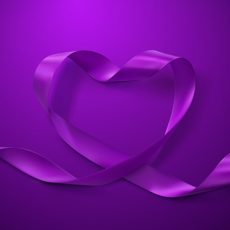 looping: Purple Ribbon Heart. Vector Illustration Of Looping Ribbon. Valentines Day Or Medical Concept
