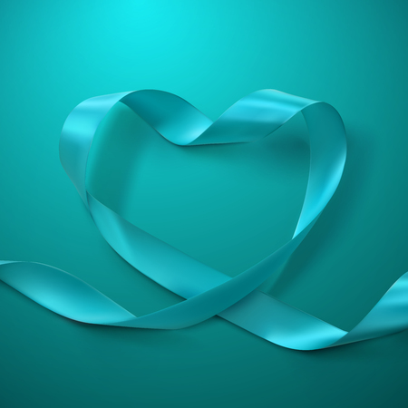 satin background: Turquoise Ribbon Heart. Vector Illustration Of Looping Ribbon. Valentines Day Or Medical Concept