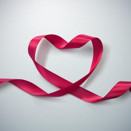 ピンク リボン ハート。リボンをループのベクトル イラスト。バレンタインデーや医療コンセプト