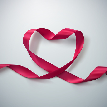 Pink Ribbon Heart. Vector Illustration Of Looping Ribbon. Valentines Day Or Medical Concept