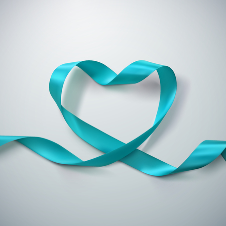 looping: Azure Ribbon Heart. Vector Illustration Of Looping Ribbon. Valentines Day Or Medical Concept Illustration