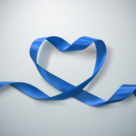looping: Blue Ribbon Heart. Vector Illustration Of Looping Ribbon. Valentines Day Or Medical Concept Illustration