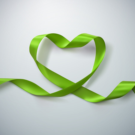 looping: Green Ribbon Heart. Vector Illustration Of Looping Ribbon. Valentines Day Or Medical Concept