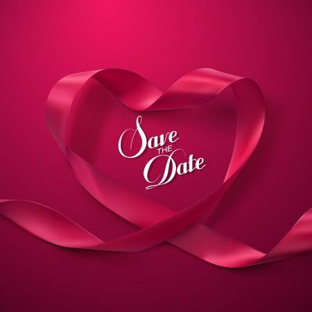 Save the Date. Pink Ribbon Heart. Vector Illustration Of Looping Ribbon. Illustration