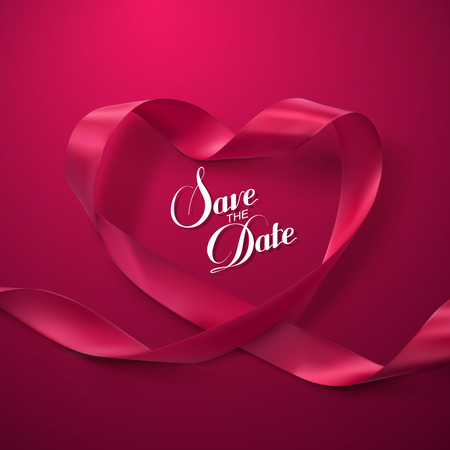 Save the Date. Pink Ribbon Heart. Vector Illustration Of Looping Ribbon. Vettoriali