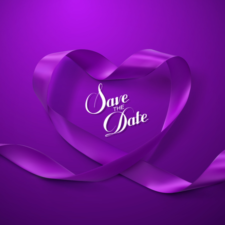 looping: Save the Date. Purple Ribbon Heart. Vector Illustration Of Looping Ribbon.